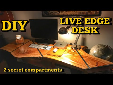 How to Make a Live Edge Desk Featuring Epoxy Resin Inlay and 2 Secret Compartments | DIY Woodwork