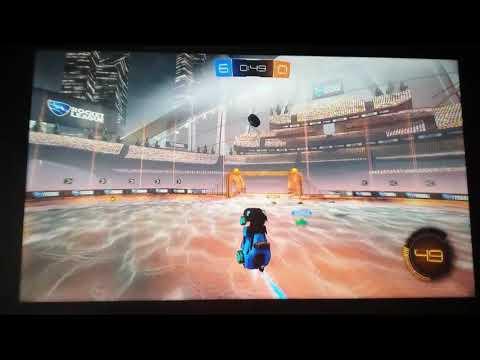 Rocket League flying across long distance goal