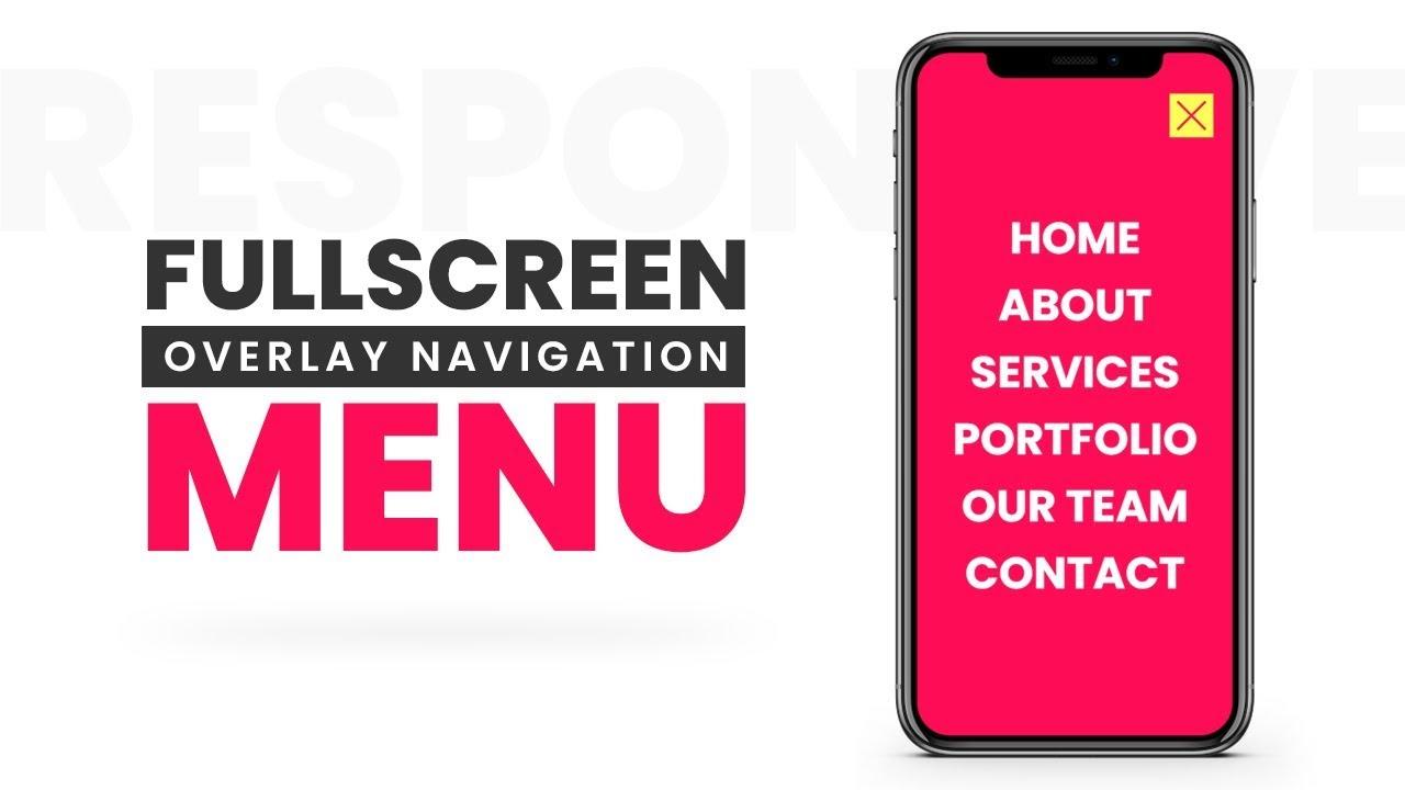 Fullscreen Overlay Responsive Navigation Menu   Html5 CSS3 & Javascript