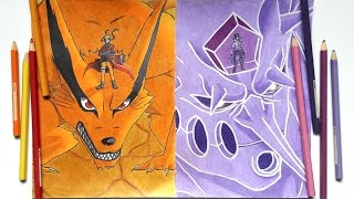 Speed Drawing - Naruto & Kurama VS Sasuke & Susanoo (Requested)