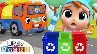 Garbage Truck Helps Us Clean Up Trash | Little Angel Nursery Rhymes & Kids Songs