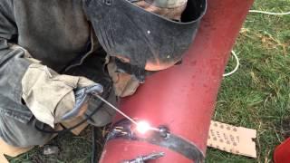 Сварка газовой 325 трубы под просвет.