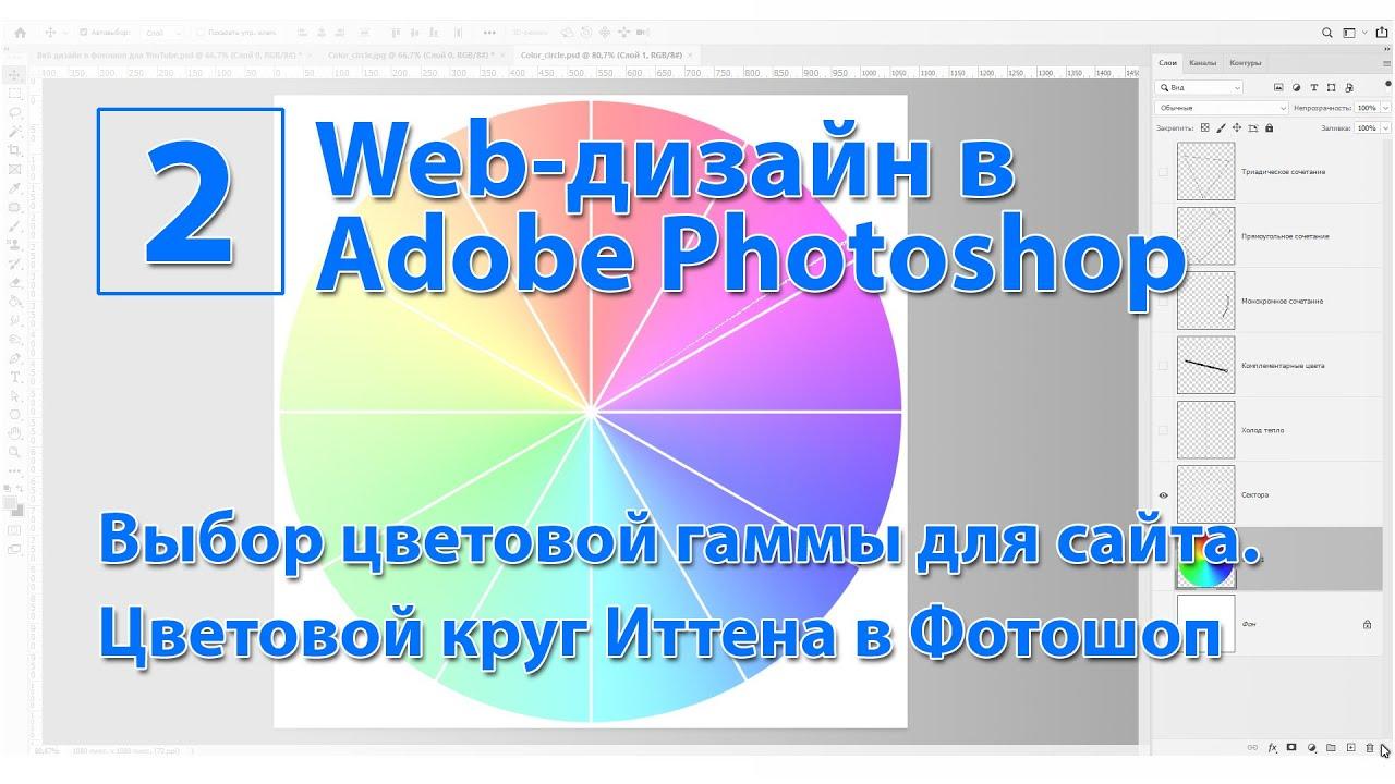 Как создать цветовой круг Иттена в Фотошоп. Методы выбора цветовой гаммы для дизайна сайта