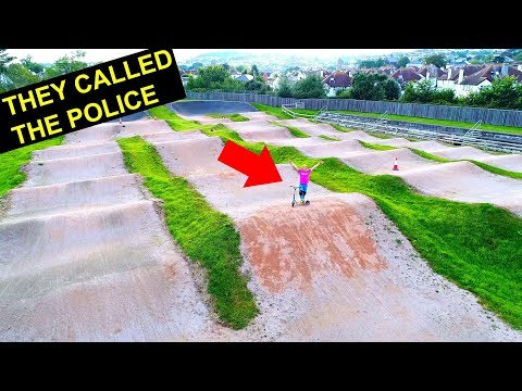 ILLEGAL PROPERTY PUMP TRACK ON SCOOTER! *kicked out*