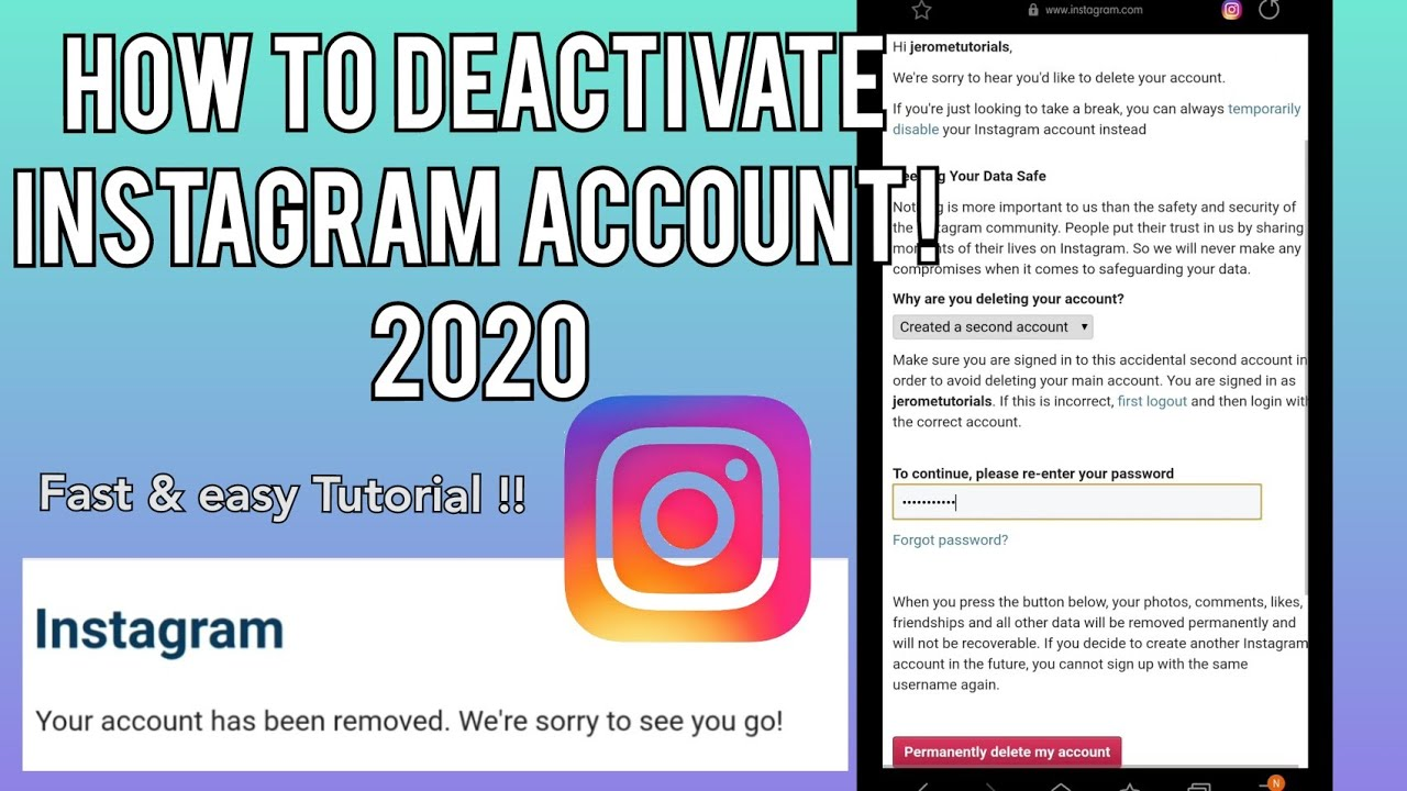 How to Deactivate Instagram Account Permanently in 2020 fast and easy tutorial !
