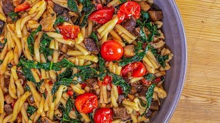 How to Make Pasta with Portobellos, Cherry Tomatoes and Dark Greens by Rachael