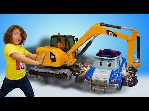 Видео игры в игрушки. Робокар Поли спасает Эмбер! Машины-помощники Bruder детям.