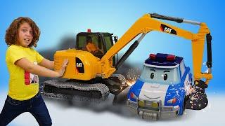 Видео игры в игрушки Робокар Поли спасает Эмбер Машины помощники Bruder детям