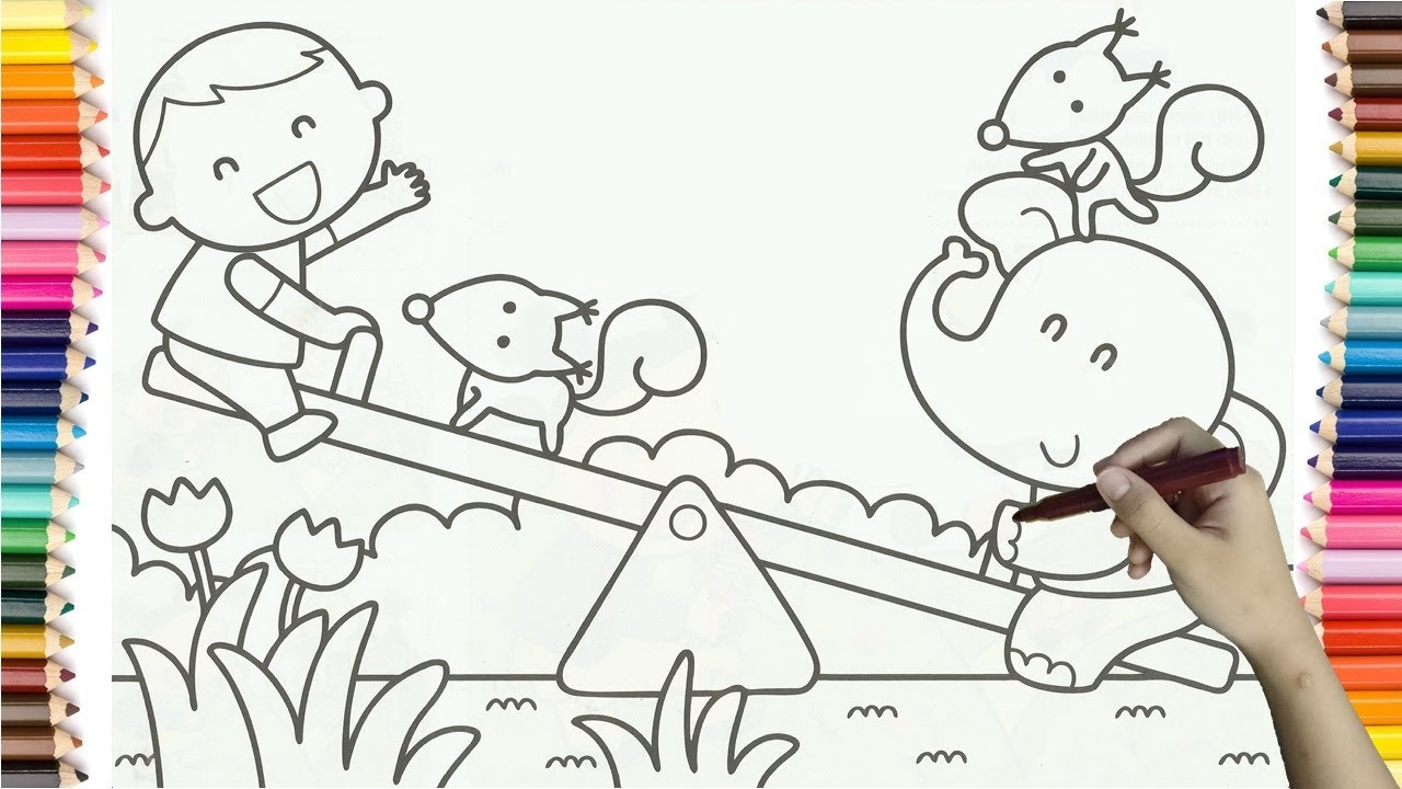 how to drawing baby boy and elephant play on a seesaw coloring
