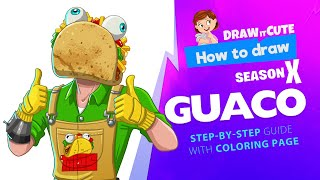 How to draw Guaco | Fortnite season 10 step-by-step skin drawing tutorial with coloring page