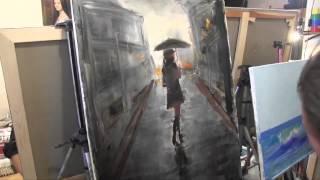 Девушка под дождём.МК по живописи Игорь Сахаров
