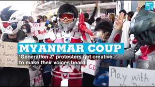 Myanmar coup: 'Generation Z' protesters get creative to make voices heard