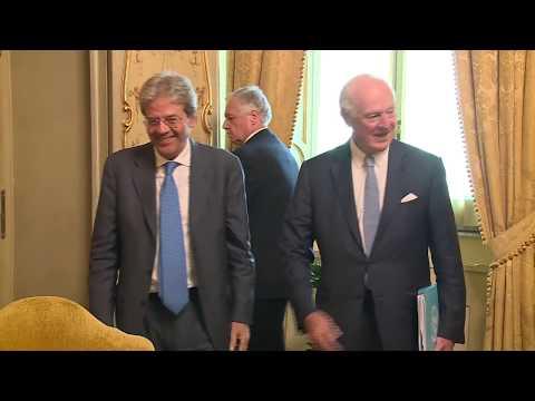 Gentiloni incontra l'inviato speciale dell'ONU in Siria Staffan de Mistura