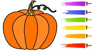 How To Drawing Pumpkin Draw Coloring Learn Easily Step by Step for Kids ,Children and Beginners