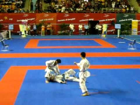 Karate Sea Games 2011 - Malaysia - Bunkai Kata Male - Kata Paiku Travel Video
