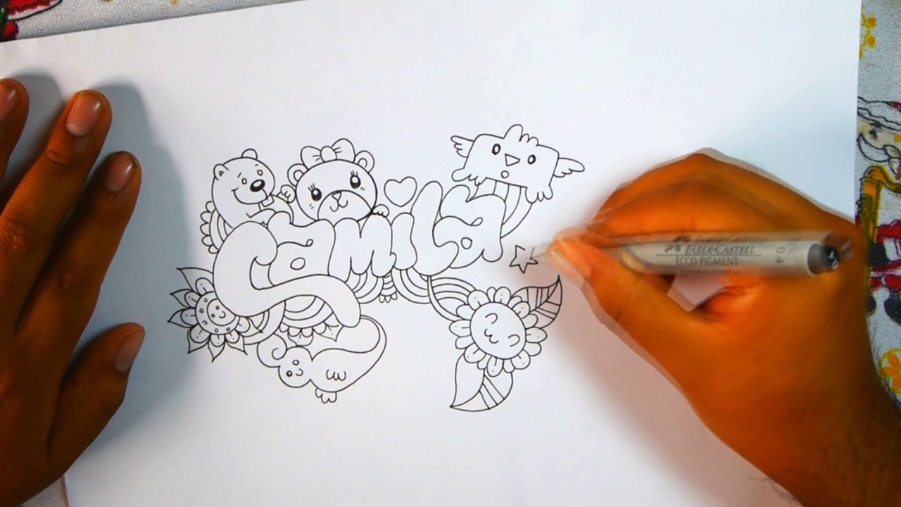 How to make your name in doodle camila wellintencion for How to doodle names
