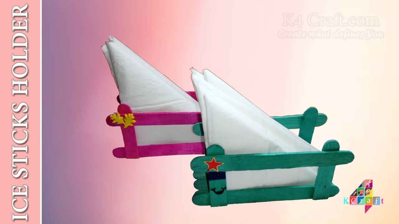Diy Popsicle Ice Sticks Tissue Paper Holder Christmas New Year