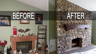Eldorado Stone Fireplace Installation With Mantel - Time Lapse