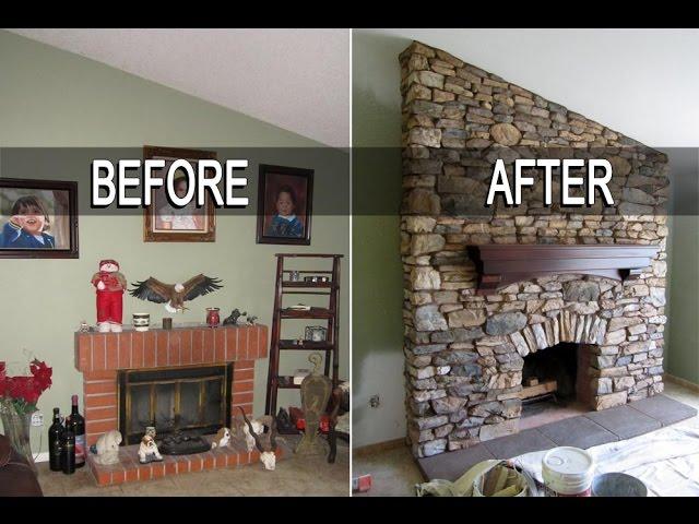 Eldorado Stone Fireplace Installation, Floating Mantel On Uneven Stone Fireplace
