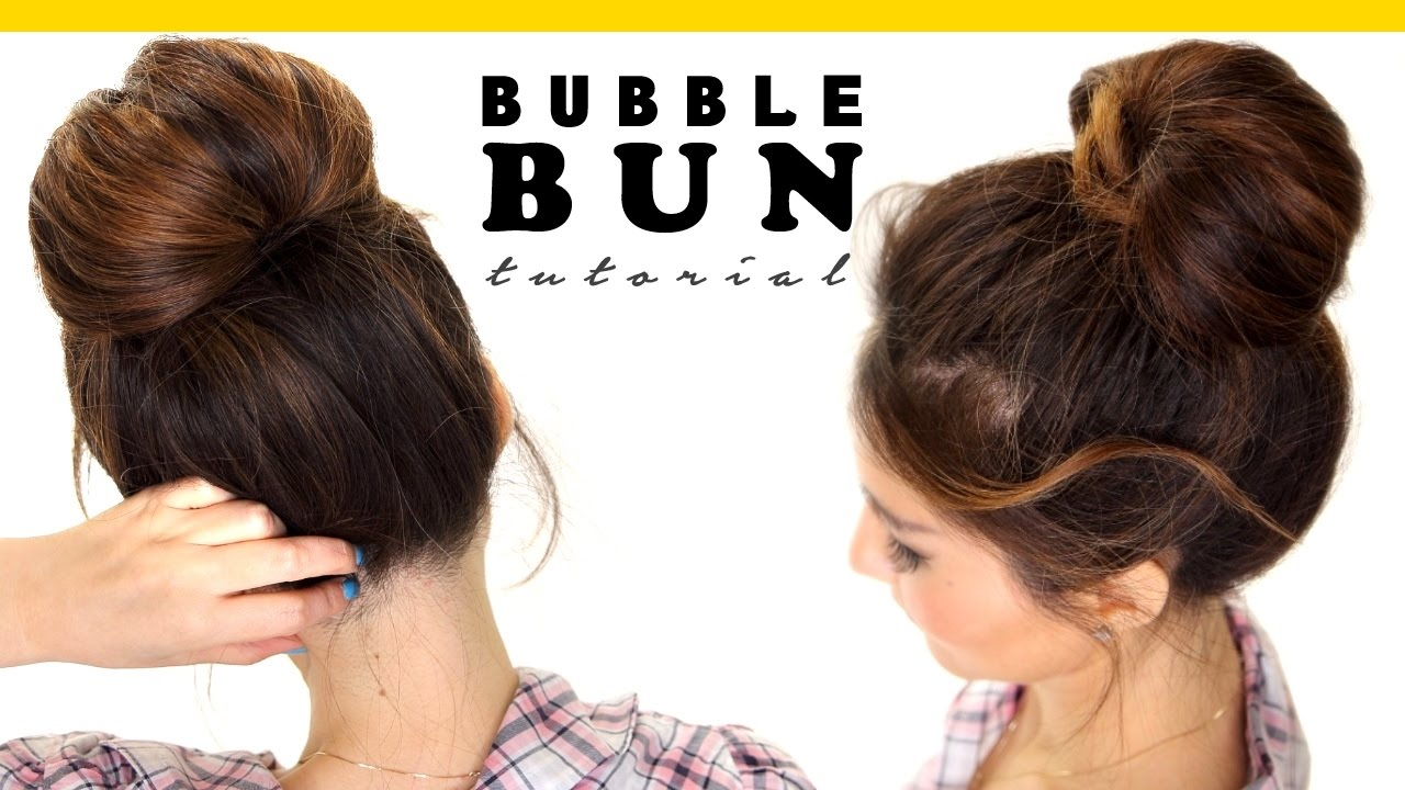 Cute Hair Styles For Medium Hair: 2-Minute BUBBLE BUN Hairstyle