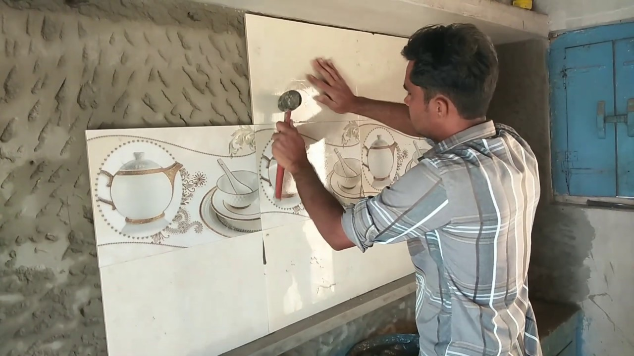 Kitchen Wall Tiles Fitting With Indian Style L High Lighter L Tiles Fixing Youtube