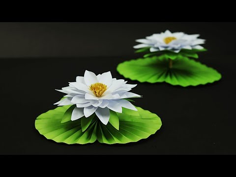 Paper Water Lily (কাগজের শাপলা ফুল) | How To Make Water Lily With Paper | DIY Paper Flower