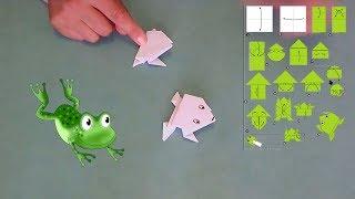 Оригами лягушка из бумаги/Как сделать прыгающую лягушку своим руками для детей пошаговая инструкция