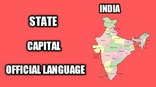 INDIAN STATES WITH THEIR CAPITAL & OFFICIAL LANGUAGES