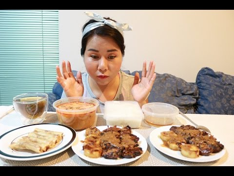 Mukbang : Sate Chicken and Beef skewers , Beef Springrolls , Seafood Tum Yum Goong Soup