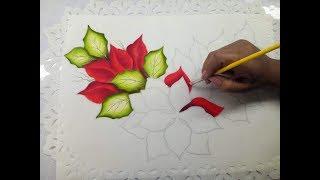 How To Paint Poinsettia / Pintura En Tela Como Pintar Una Nochebuena Para Navidad