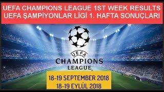 UEFA ŞAMPİYONLAR LİGİ 1. HAFTA SONUÇLARI-PUAN DURUMU, UEFA CHAMPIONS LEAGUE 1st WEEK RESULTS - 2018