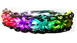 Repeat youtube video HOW TO MAKE A RAINBOW LOOM STARBUST BRACELET WITH RUBBER BANDS. TUTORIAL DIY.