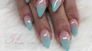 Ombré Nails | Baby Blue Ombré | Acrylic Nails