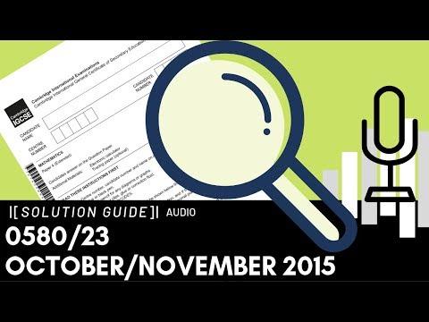0580/23 October/November 2015 Marking Scheme (MS) *Audio Voiceover