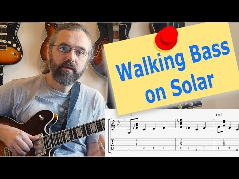 Walking bass and chords guitar lesson - Solar
