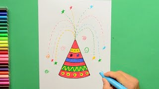 How to draw and color Diwali Crackers