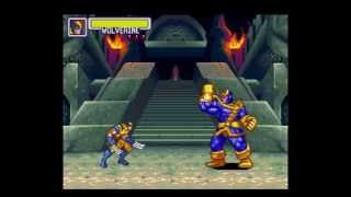 Marvel Super Heroes - War of Gem - Final Boss THANOS & NEBULA (SNES)