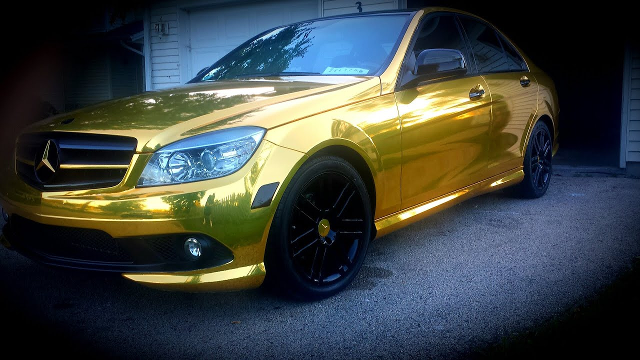 Chrome gold mercedes benz c class walk around youtube for Bob ross mercedes benz