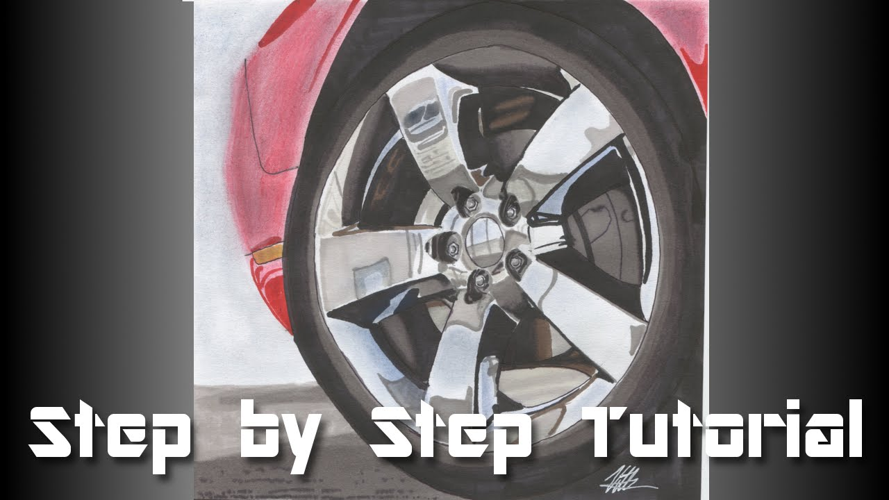 How To Draw Chrome Wheels Step By Step Tutorial YouTube