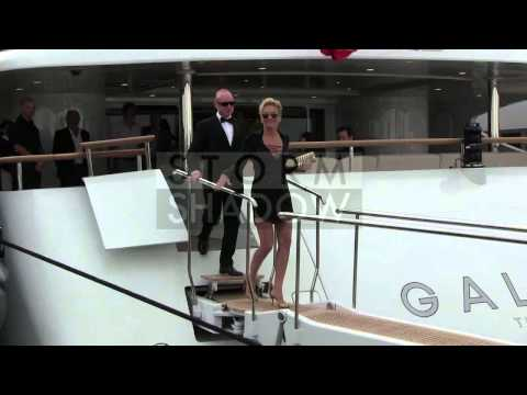 CANNES FILM FESTIVAL 2014 - Sharon Stone leaving a yacht in Cannes