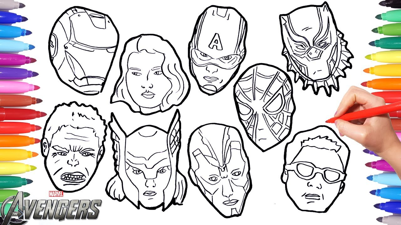 The AVENGERS Coloring Pages | How to draw all Avengers Character ...
