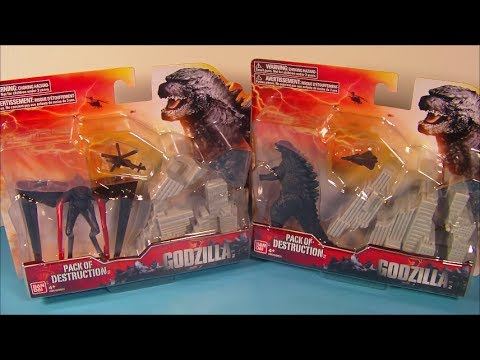 2014 Godzilla And Muto Packs Of Destruction Movie Toys Video Review