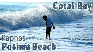 Potima Coral Bay 2020 Paphos Big dangerous waves Nice Beach Cyprus Drone Review