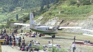 झण्डै खसेको प्लेन, डोल्पा एयरपोर्ट Danger Plane Landing Dolpa Airport Nepal