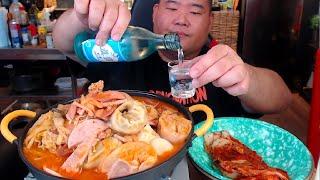 왕만두 부대찌개 3인분 + 쌀밥 + 막걸리 + 소주 낮술 MUKBANG