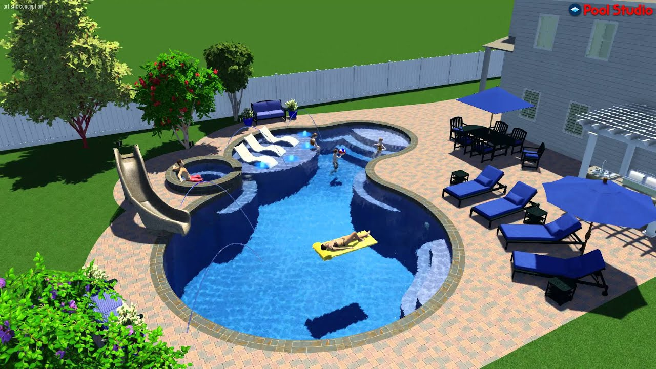 Pool studio 3d swimming pool design software youtube for Design my own pool