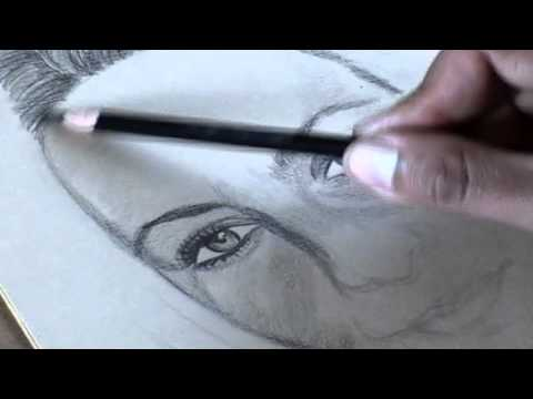 Drawing a Portrait using Black and White pencils.