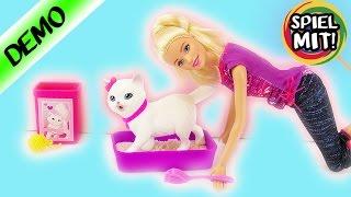 BARBIE mit KATZE youtube video demo + review | Barbie Puppe mit Kätzchen macht KATZENKLO sauber