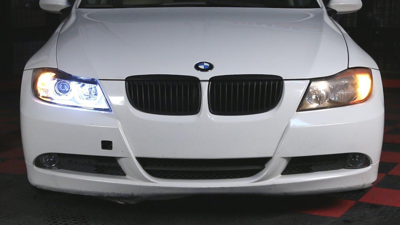For 2006-2008 BMW E90 320 M3 Clear Halo Projector Headlights+H1 Halogen Bulbs