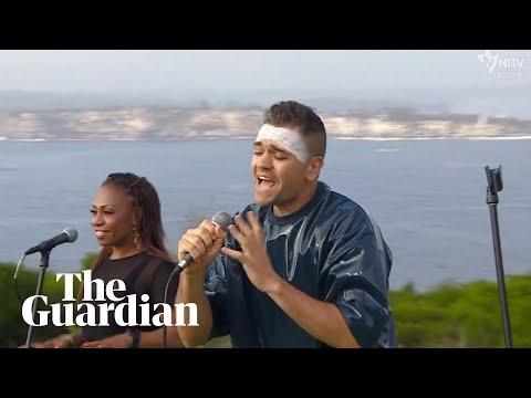 Mitch Tambo performs John Farnham's You're the Voice in Gamilaraay language